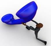 3d bald head  man lift big blu telephone reciever concept Royalty Free Stock Photography