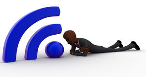 3d bald head man lying on floor and with wifi icon concept Royalty Free Stock Photography