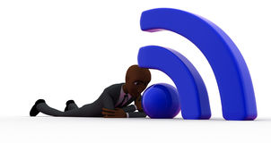 3d bald head man lying on floor and with wifi icon concept Royalty Free Stock Photo
