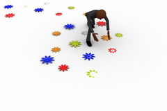 3d bald head  man picking up flower from floor concept Royalty Free Stock Photo