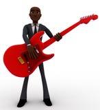 3d bald head man playing red electric guitar concept Stock Photos