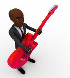 3d bald head man playing red electric guitar concept Stock Photography