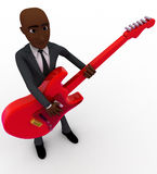 3d bald head man playing red electric guitar concept Royalty Free Stock Image
