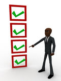3d bald head man pointing  at complete check list concept Royalty Free Stock Image