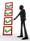 3d bald head man pointing  at complete check list concept Royalty Free Stock Photos