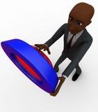 3d bald head man press red button concept Stock Photo