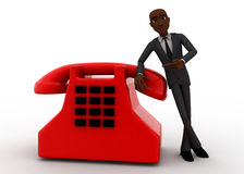 3d bald head  man with red telephone reciever concept Stock Photo