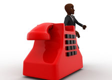 3d bald head  man with red telephone reciever concept Royalty Free Stock Photo