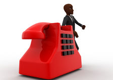 3d bald head  man with red telephone reciever concept Stock Photos