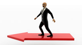 3d bald head man running on red arrow. Concept front view Royalty Free Stock Images