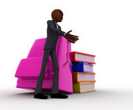 3d bald head man with school bag and books concept Stock Photography