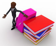 3d bald head man with school bag and books concept Royalty Free Stock Photo
