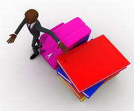 3d bald head man with school bag and books concept Royalty Free Stock Image