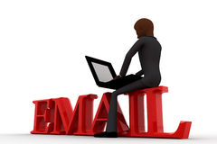 3d bald head  man sitting on email and working laptop concept Stock Photo