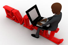 3d bald head  man sitting on email and working laptop concept Royalty Free Stock Photography