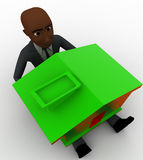 3d bald head man sitting on floor and green house on leg concept Royalty Free Stock Photo