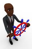 3d bald head  man with stairing wheel of boat concept Stock Photography