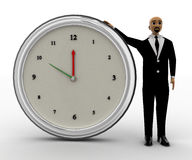 3d bald head man standing with big clock. Concept front view Royalty Free Stock Photography