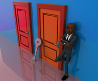 3d bald head man standing outside closed door with key concept Royalty Free Stock Photos