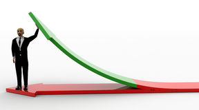 3d bald head man standing on red arrow and supporting green arrow Stock Photography