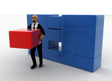 3d bald head man taking red box from storage. Side view concept Royalty Free Stock Image