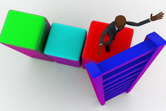 3d bald head man on top of bar graph and placing ladder on right place concept Royalty Free Stock Photo