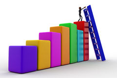 3d bald head man on top of bar graph and placing ladder on right place concept Stock Photo