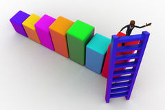 3d bald head man on top of bar graph and placing ladder on right place concept Royalty Free Stock Photography