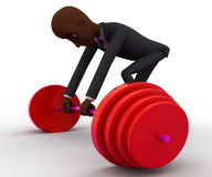3d bald head  man try to lift up heavy weight concept Royalty Free Stock Photo