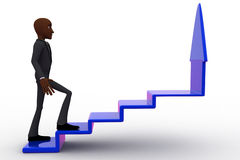 3d bald head man walking and going up to stairs of arrow concept Stock Photos
