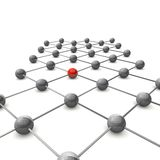 3D Kugel Netz. 3D ball grid shows the structure of a molecular structure of two atoms Stock Photos