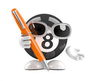 3d 8 Ball holds a pen. 3d render of an eight ball character writing with a pen Stock Images