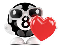 3d 8 Ball hugs a red heart. 3d render of an eight ball character hugging a red heart Stock Images