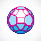 3d ball made with black lines, futuristic origami abstract model Stock Images