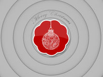 3d ball ornate tag, concentric circles background. Ball ornate of merry christmas tag, concentric circles on white Royalty Free Stock Photos