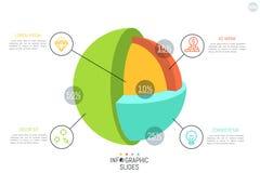3d ball or spherical cutaway diagram Stock Images