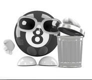 3d 8 Ball uses the waste bin. 3d render of an 8-ball character next to a rubbish bin Royalty Free Stock Photography