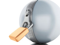 3d Ball with zipper and padlock Stock Photography
