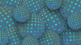 3d ballen stemden blauwe glas abstracte achtergrond Het mozaïekpatroon van de luxe modieus flikkering stock illustratie