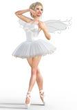 3D ballerina met vleugels Stock Foto's
