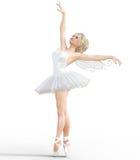 3D ballerina met vleugels Stock Foto