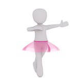3d ballerina wearing pink tutu while dancing. Ballet isolated with copy space on white background Royalty Free Stock Photos