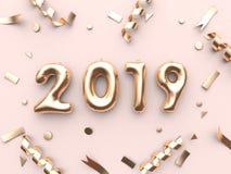3d Ballontext der Wiedergabe 2019/Zahl und metallischer rosa Hintergrund des Goldbandes lizenzfreie abbildung