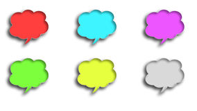 3D balloon dialogue clouds in different colors. Six 3D balloon dialogue clouds in different colors on a white background Royalty Free Stock Photography