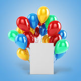 3d balloons and blank box. On blue background Stock Image