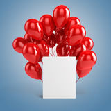 3d balloons and blank box. On blue background Royalty Free Stock Images