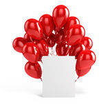 3d balloons and blank box. On white background Royalty Free Stock Photo