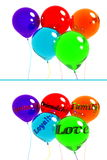 3d balloons. Blue purple red light green orange balloon with ribbons without inscriptions and inscription inside the ball Royalty Free Stock Photo