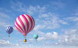 3d balloons in the blue sky. 3D Render Royalty Free Stock Photo