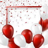 3d balloons with confetti and frame. Festive illustration for holiday party design, blur effect, red and white color. Vector illustration Royalty Free Stock Photo